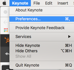 Apple Keynote Preferences