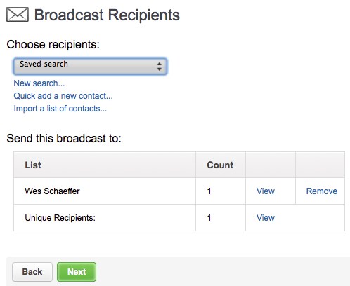 Infusionsoft broadcast recipients.