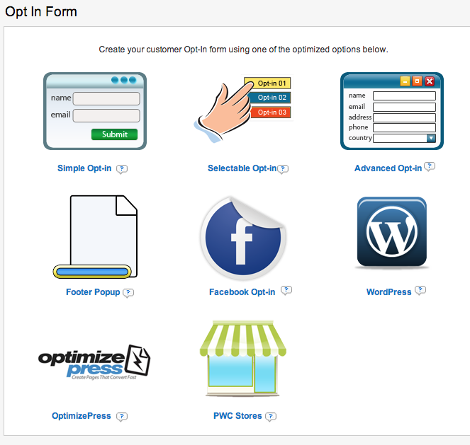 Premium Web Cart Opt-In Forms
