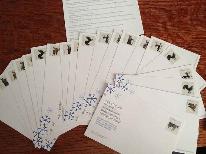 Google Engage direct mail package incudes 20 pre-stamped postcards.