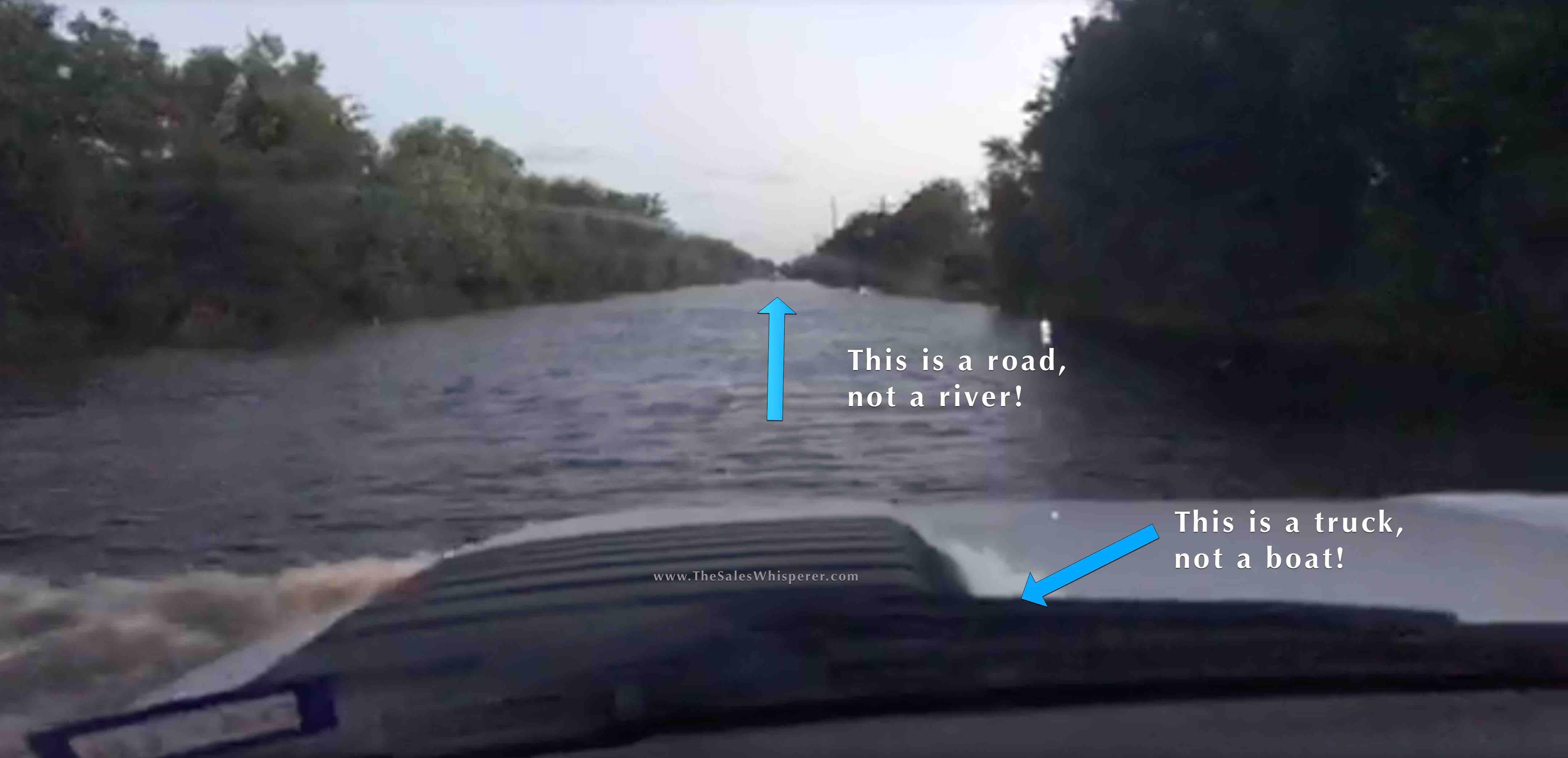 Navigating Hurricane Harvey flood to bring aid.