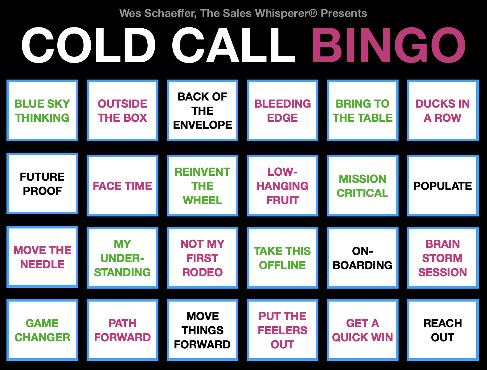 Cold Call Bingo Wes Schaeffer