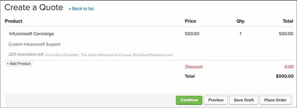 Infusionsoft expert tip to add products or subscriptions to your quotes and collect payments