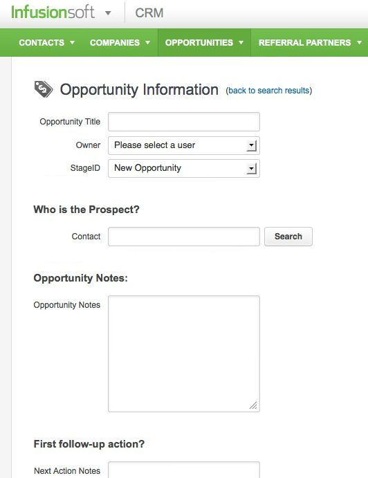 Add detail to Infusionsoft CRM opportunity easily