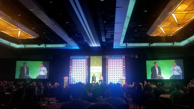 Wes Schaeffer takes the stage with Infusionsoft CEO Clate Mask