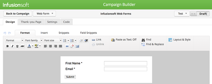 Configure you Infusionsoft web forms.