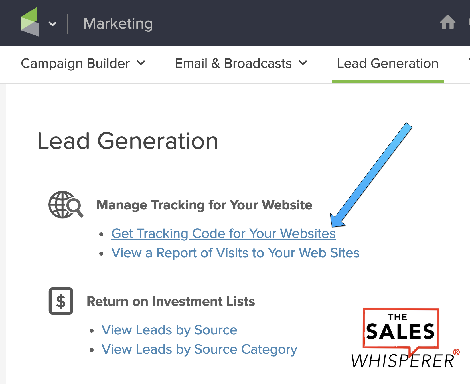 Infusionsoft Wordpress tracking code for lead generation step 2 by Wes Schaeffer, The Sales Whisperer®