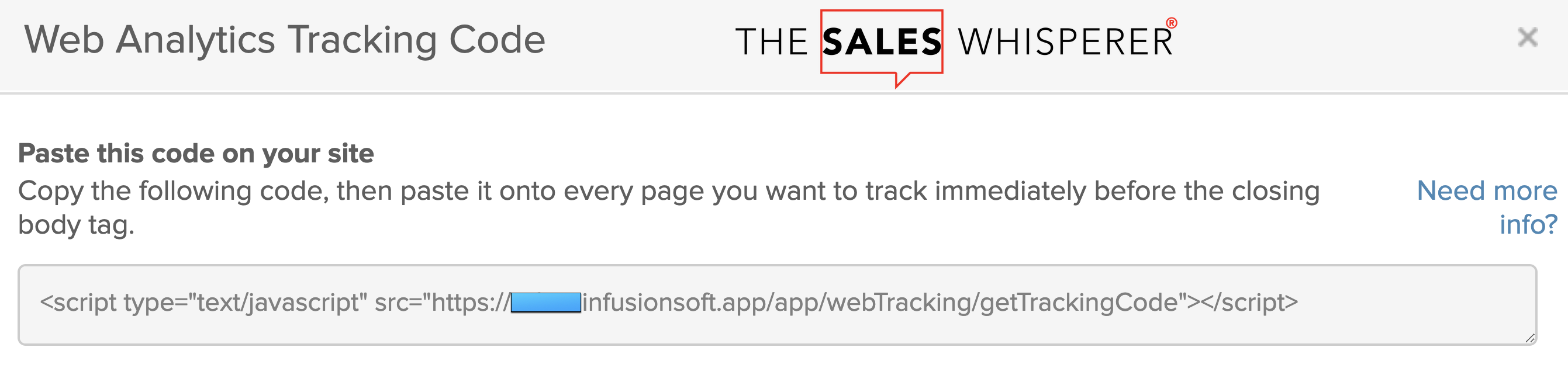 Install Infusionsoft Wordpress tracking code for lead generation by Wes Schaeffer, The Sales Whisperer®