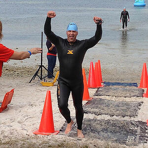 Wes Schaeffer finishes the Tampa Bay Frogman Swim for the Navy SEAL Foundation